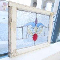 画像1: お花と太陽のような素敵なイギリスアンティークステンドグラス