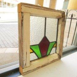 画像1: くっきりとした赤×黄×緑が印象的♪イギリスアンティークステンドグラス