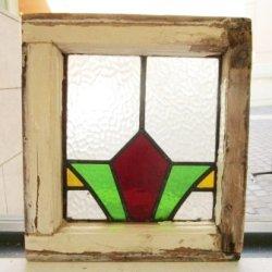 画像2: くっきりとした赤×黄×緑が印象的♪イギリスアンティークステンドグラス