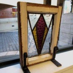 画像1: 色の分かれた大きなひし形が素敵☆イギリスのアンティークステンドグラス