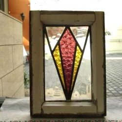 画像2: 色の分かれた大きなひし形が素敵☆イギリスのアンティークステンドグラス